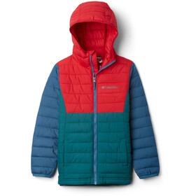 Columbia Powder Lite Kurtka z kapturem Chłopcy, pine green/mountain red/blue heron